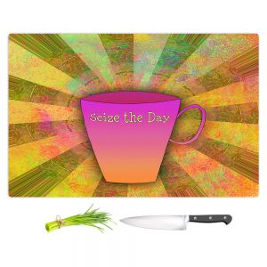 Artistic Kitchen Bar Cutting Boards | China Carnella - Coffee Seize the Day | cup outline quote