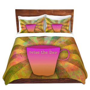 Artistic Duvet Covers and Shams Bedding | China Carnella - Coffee Seize the Day | cup outline quote