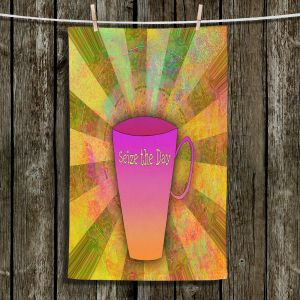 Unique Hanging Tea Towels | China Carnella - Coffee Seize the Day | cup outline quote