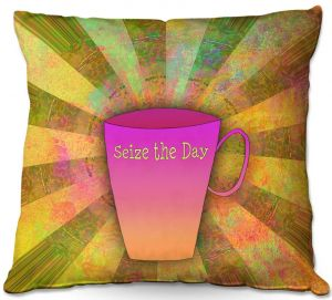 Throw Pillows Decorative Artistic | China Carnella - Coffee Seize the Day | cup outline quote