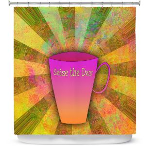 Premium Shower Curtains | China Carnella - Coffee Seize the Day | cup outline quote