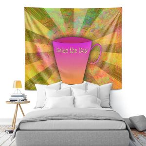 Artistic Wall Tapestry | China Carnella - Coffee Seize the Day | cup outline quote