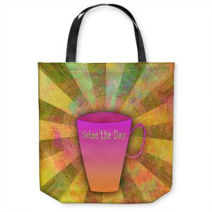 Unique Shoulder Bag Tote Bags | China Carnella - Coffee Seize the Day | cup outline quote