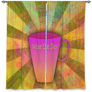 Decorative Window Treatments | China Carnella - Coffee Seize the Day | cup outline quote