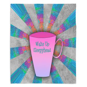 Decorative Fleece Throw Blankets | China Carnella - Coffee Wake Up | cup outline quote