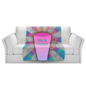 Artistic Sherpa Pile Blankets | China Carnella - Coffee Wake Up | cup outline quote