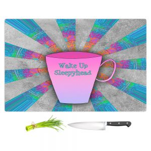 Artistic Kitchen Bar Cutting Boards | China Carnella - Coffee Wake Up | cup outline quote
