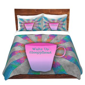 Artistic Duvet Covers and Shams Bedding | China Carnella - Coffee Wake Up | cup outline quote