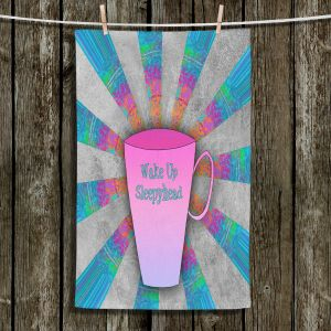 Unique Hanging Tea Towels | China Carnella - Coffee Wake Up | cup outline quote