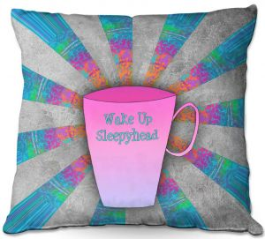 Throw Pillows Decorative Artistic | China Carnella - Coffee Wake Up | cup outline quote