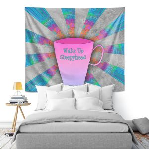 Artistic Wall Tapestry | China Carnella - Coffee Wake Up | cup outline quote