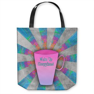 Unique Shoulder Bag Tote Bags | China Carnella - Coffee Wake Up | cup outline quote