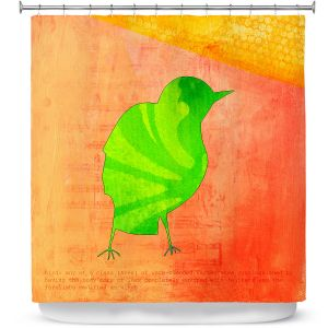 Premium Shower Curtains | China Carnella - Green Bird | silhoutte outline nature