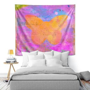 Artistic Wall Tapestry | China Carnella - Pink Butterfly | Silhouette outline nature insect