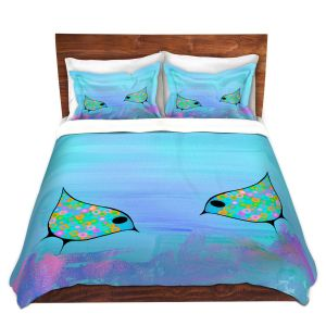 Artistic Duvet Covers and Shams Bedding | China Carnella - Purple Birds | simple pattern nature