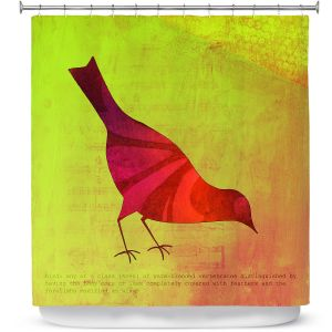 Premium Shower Curtains | China Carnella - Red Bird | silhoutte outline nature