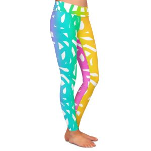 Casual Comfortable Leggings | China Carnella - White Rainbow | color pattern abstract swirls