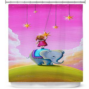 Premium Shower Curtains | Cindy Thornton - Elephant Stars