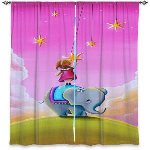 Unique Window Curtain Lined 40w x 61h from DiaNoche Designs by Cindy Thornton - Elephant Stars