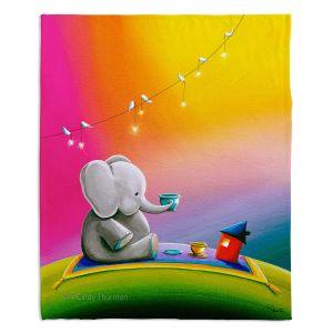 Decorative Fleece Throw Blankets   Cindy Thornton - Rainbow Elephant