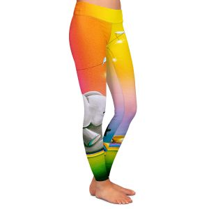 Casual Comfortable Leggings | Cindy Thornton - Rainbow Elephant