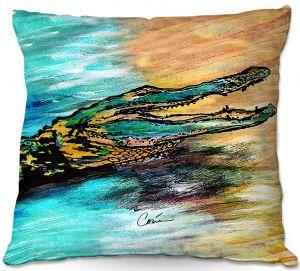 Decorative Outdoor Patio Pillow Cushion | Corina Bakke - Alligator