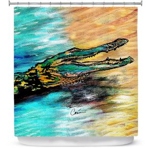 Unique Shower Curtain 69w x 72h inches from DiaNoche Designs by Corina Bakke - Alligator