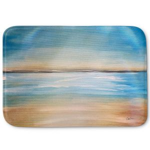 Decorative Bathroom Mats | Corina Bakke - Blue Sea | beach landscape sunrise horizon