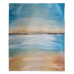 Decorative Fleece Throw Blankets | Corina Bakke - Blue Sea | beach landscape sunrise horizon