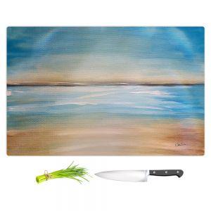 Artistic Kitchen Bar Cutting Boards | Corina Bakke - Blue Sea | beach landscape sunrise horizon