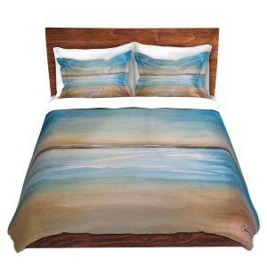 Artistic Duvet Covers and Shams Bedding | Corina Bakke - Blue Sea | beach landscape sunrise horizon