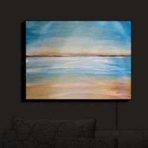 Nightlight Sconce Canvas Light | Corina Bakke - Blue Sea | beach landscape sunrise horizon