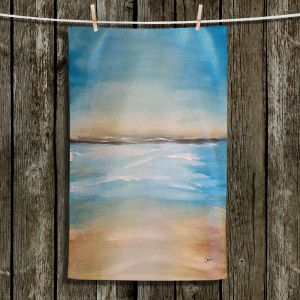 Unique Bathroom Towels | Corina Bakke - Blue Sea | beach landscape sunrise horizon
