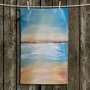 Unique Hanging Tea Towels | Corina Bakke - Blue Sea | beach landscape sunrise horizon