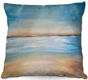 Throw Pillows Decorative Artistic | Corina Bakke - Blue Sea | beach landscape sunrise horizon