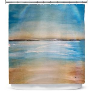 Premium Shower Curtains | Corina Bakke - Blue Sea | beach landscape sunrise horizon
