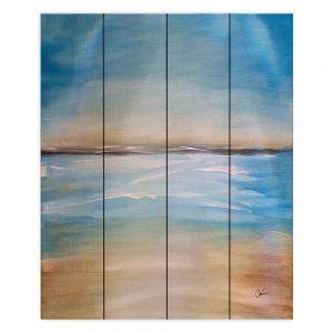 Decorative Wood Plank Wall Art | Corina Bakke - Blue Sea | beach landscape sunrise horizon