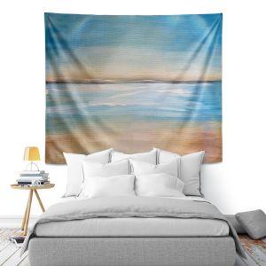 Artistic Wall Tapestry | Corina Bakke - Blue Sea | beach landscape sunrise horizon