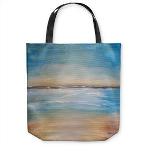 Unique Shoulder Bag Tote Bags | Corina Bakke - Blue Sea | beach landscape sunrise horizon