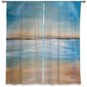 Decorative Window Treatments | Corina Bakke - Blue Sea | beach landscape sunrise horizon