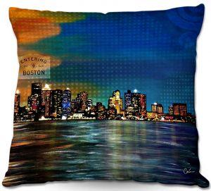 Decorative Outdoor Patio Pillow Cushion   Corina Bakke - Boston Skyline