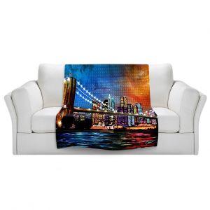 Artistic Sherpa Pile Blankets | Corina Bakke Brooklyn Bridge
