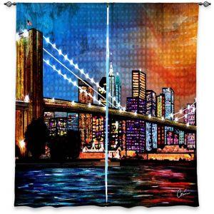 Unique Window Curtain Lined 40w x 52h from DiaNoche Designs by Corina Bakke - Brooklyn Bridge