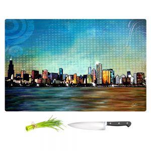Artistic Kitchen Bar Cutting Boards | Corina Bakke - Chicago Skyline