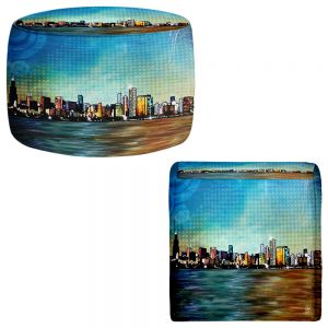 Round and Square Ottoman Foot Stools | Corina Bakke - Chicago Skyline