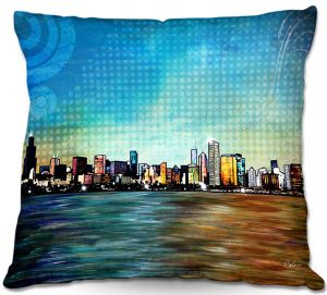 Decorative Outdoor Patio Pillow Cushion | Corina Bakke - Chicago Skyline