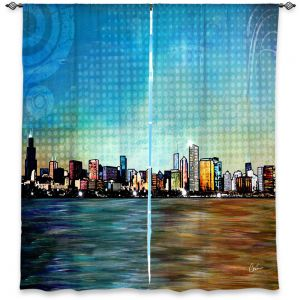 Decorative Window Treatments | Corina Bakke Chicago Skyline