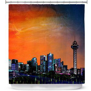 Premium Shower Curtains | Corina Bakke Denver Skyline Sports