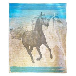 Decorative Fleece Throw Blankets | Corina Bakke - Horse | animal surreal pop art