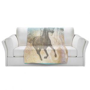 Artistic Sherpa Pile Blankets | Corina Bakke - Horse | animal surreal pop art